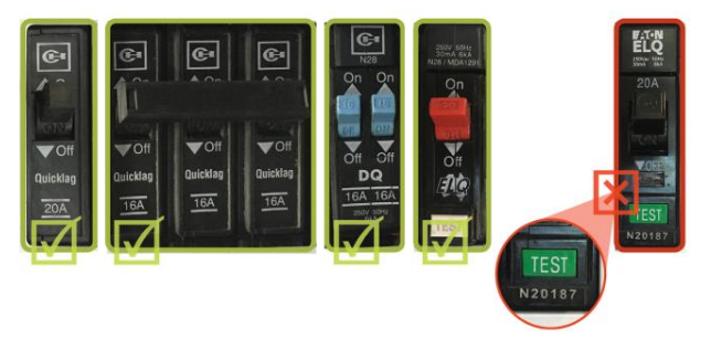How to identify a recalled Eaton Quicklag ELQ